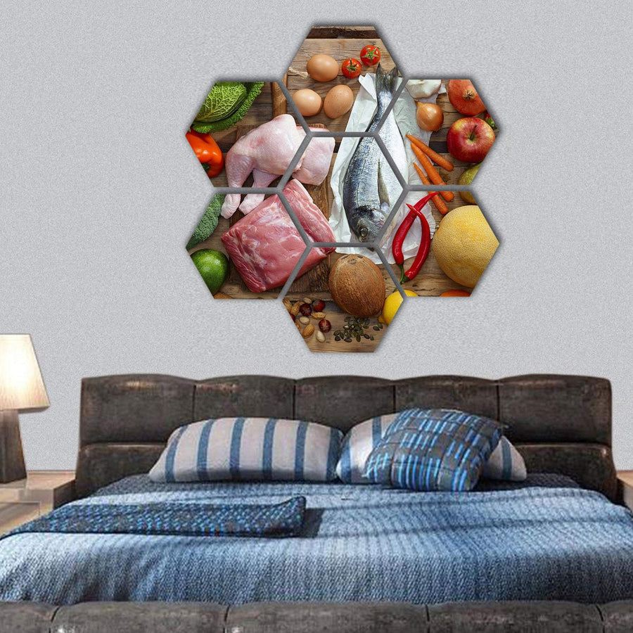 Top View Of Various Paleo Diet Products On Wooden Table Hexagonal Canvas Wall Art 1 Hexa / Small / Gallery Wrap Tiaracle