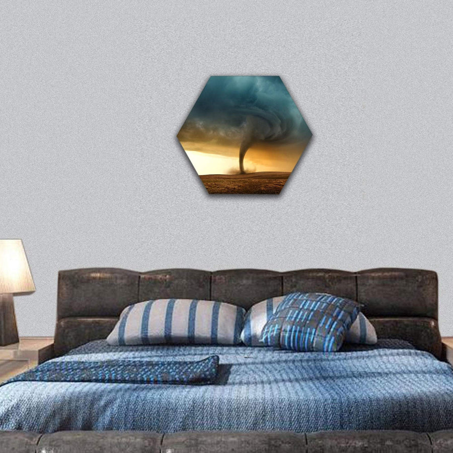 Tornado Forming In The Evening Hexagonal Canvas Wall Art 7 Hexa / Small / Gallery Wrap Tiaracle