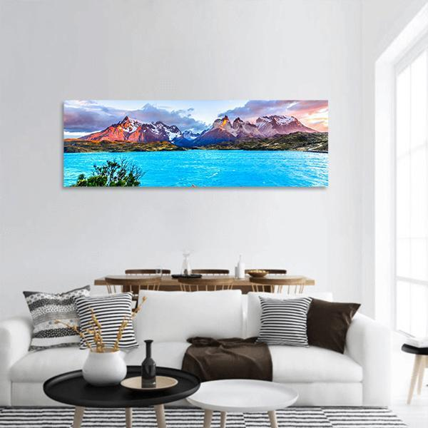 Torres del Paine In Patagonia Panoramic Canvas Wall Art 3 Piece / Small Tiaracle