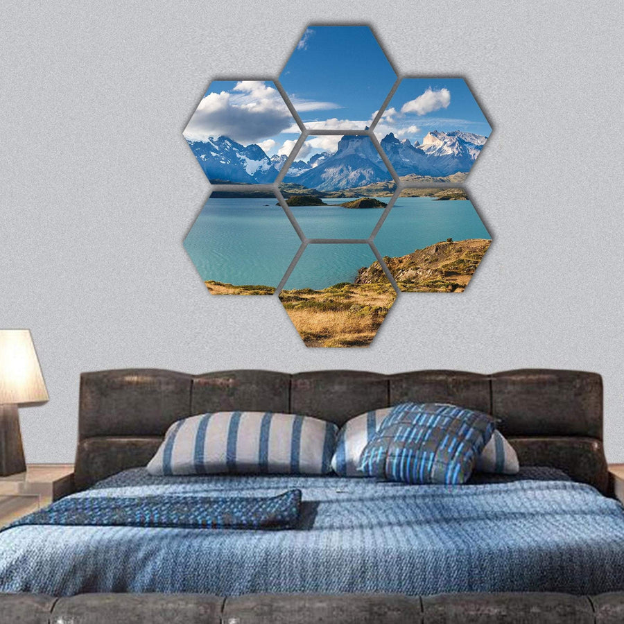 Torres del Paine National Park In Patagonia Hexagonal Canvas Wall Art 1 Hexa / Small / Gallery Wrap Tiaracle
