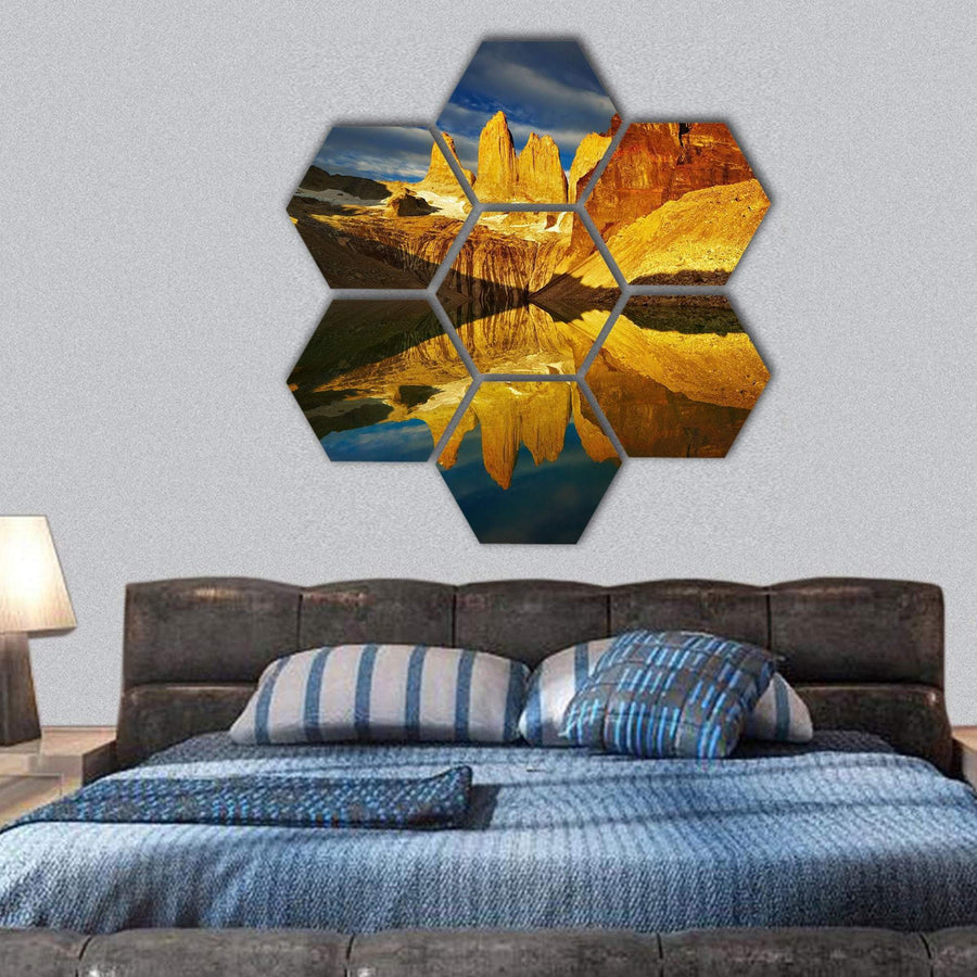 Towers With Reflection At Sunrise In Chile Hexagonal Canvas Wall Art 1 Hexa / Small / Gallery Wrap Tiaracle