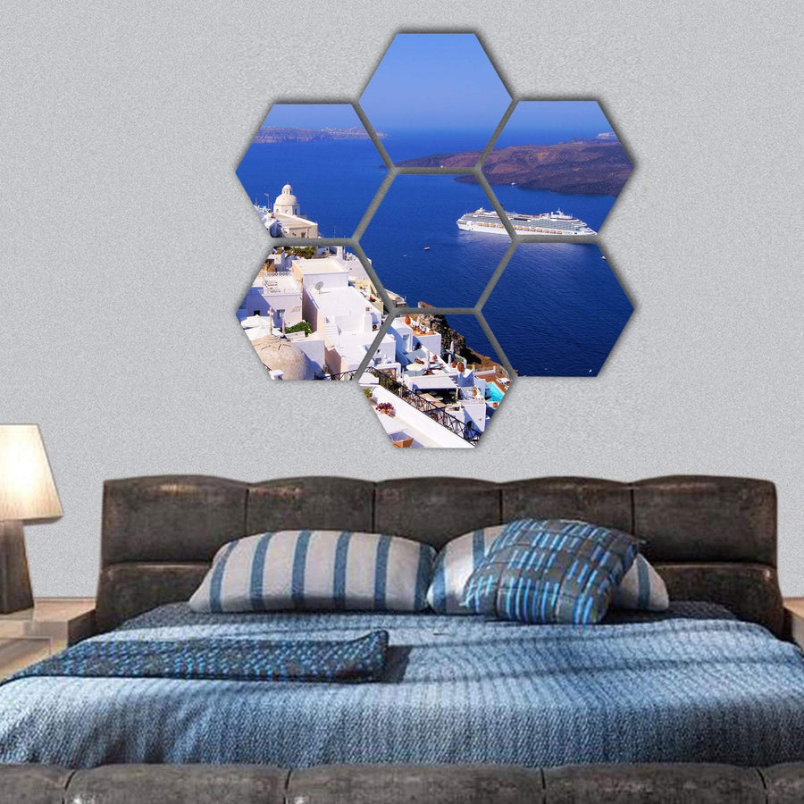 Town Of Fira In Santorini Greece Hexagonal Canvas Wall Art 1 Hexa / Small / Gallery Wrap Tiaracle