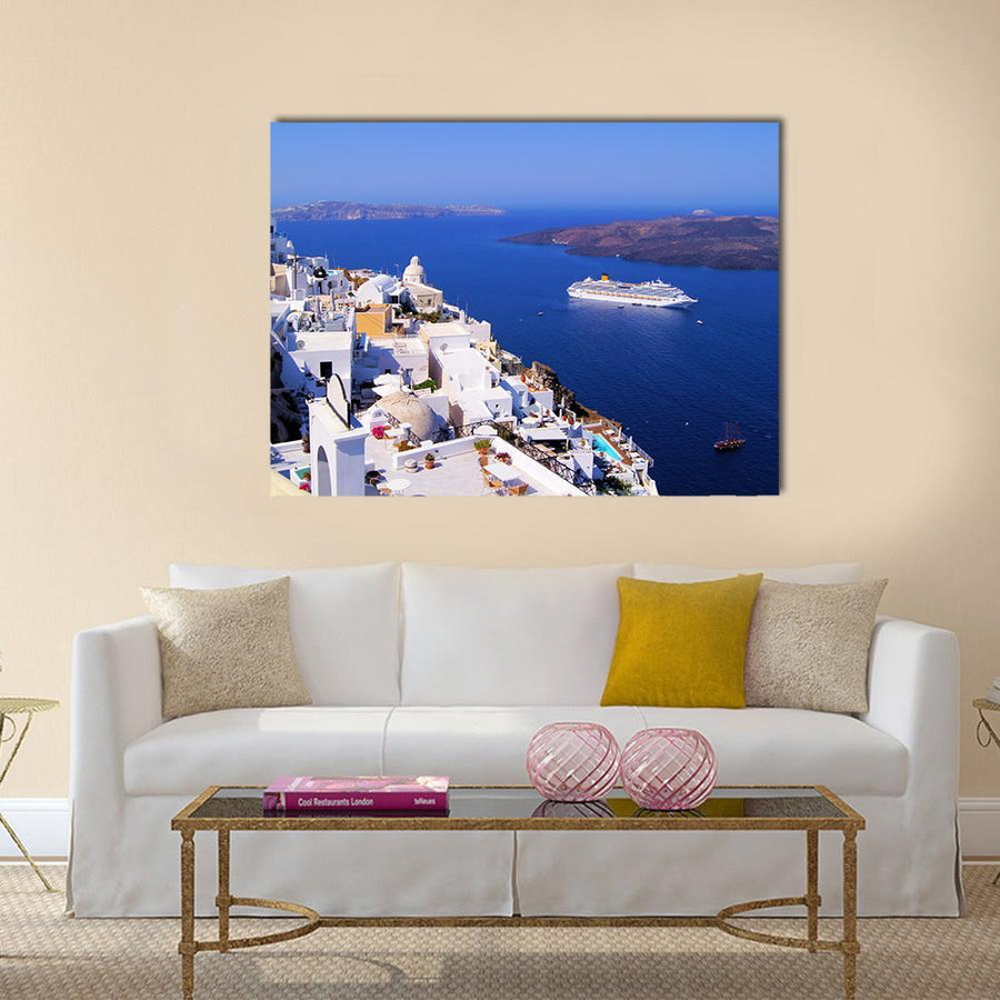 Town Of Fira In Santorini Multi Panel Canvas Wall Art-4 Horizontal-Small-Gallery Wrap-Tiaracle