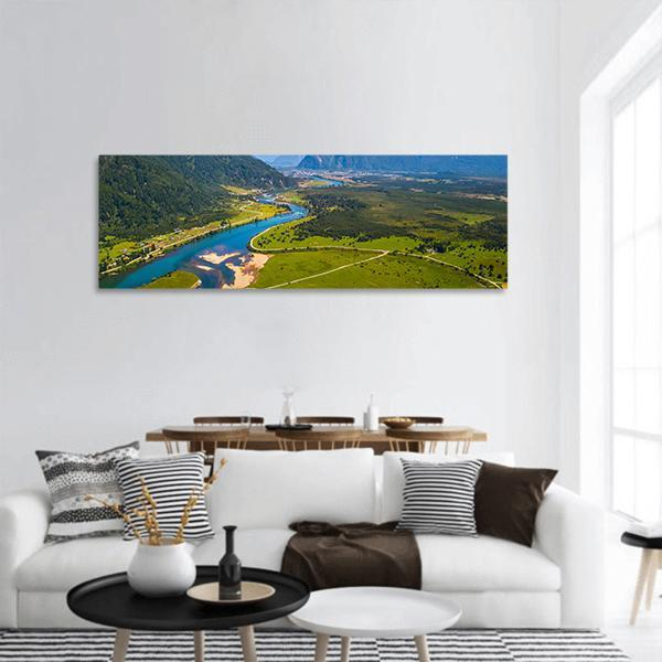 Town Of Puerto Aysen In Chile Panoramic Canvas Wall Art Tiaracle