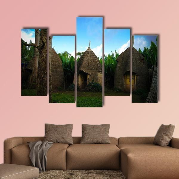 Traditional Dorze Tribe Village In Ethiopia Multi Panel Canvas Wall Art 4 Pieces / Medium / Canvas Tiaracle