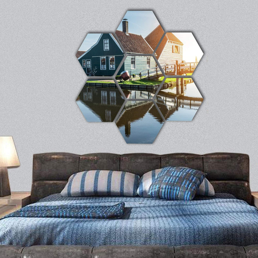 Traditional Dutch House Hexagonal Canvas Wall Art 1 Hexa / Small / Gallery Wrap Tiaracle