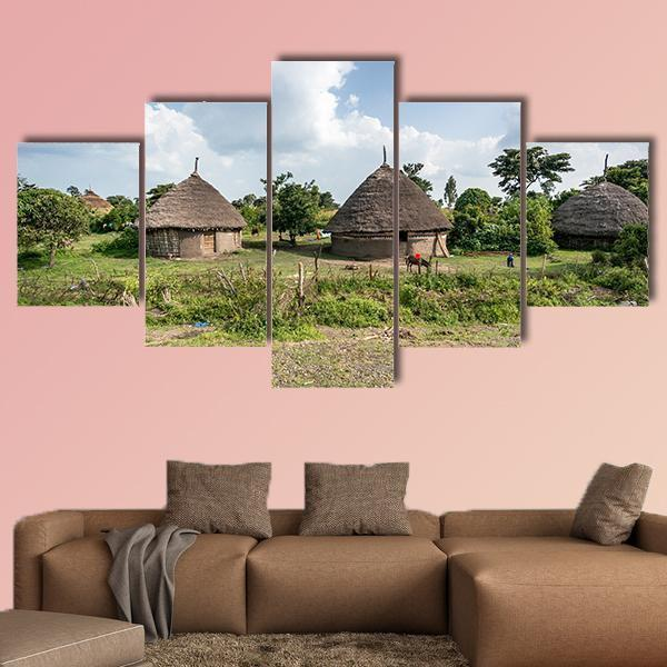 Traditional Straw Huts In The Omo Valley Of Ethiopia Multi Panel Canvas Wall Art 4 Pieces / Medium / Canvas Tiaracle