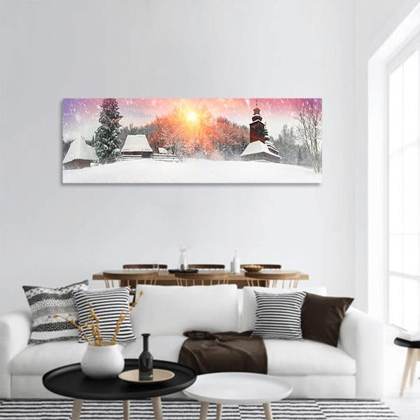Traditional Ukrainian Village At Snowfall Panoramic Canvas Wall Art 3 Piece / Small Tiaracle
