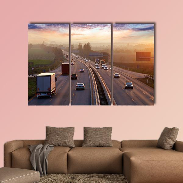 Traffic On Highway With Cars Multi Panel Canvas Wall Art 4 Pieces / Medium / Canvas Tiaracle