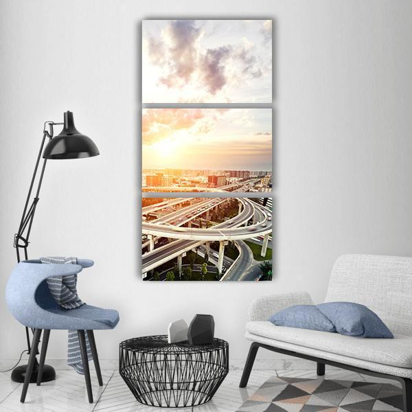 Traffic Trails On Highway Intersection Vertical Canvas Wall Art 1 Vertical / Small / Gallery Wrap Tiaracle