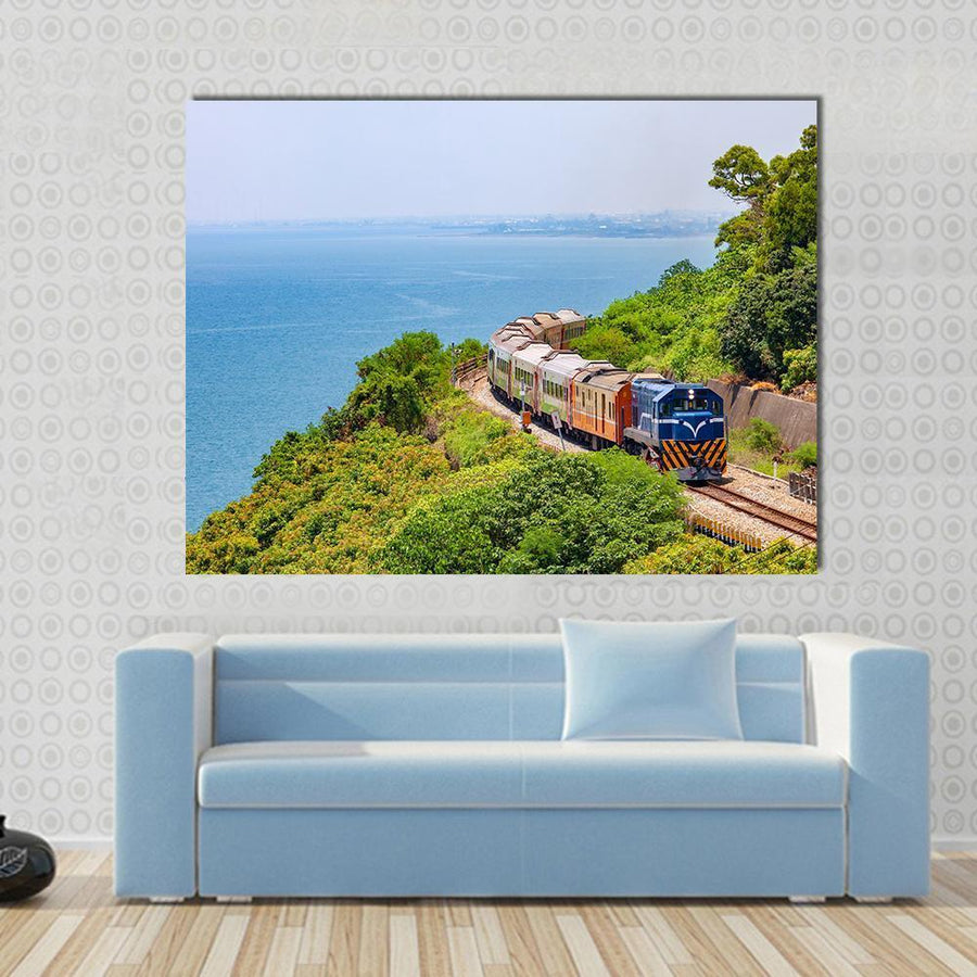 Train On The Railway Near Fangshan Station In Pingtung, Taiwan Canvas Wall Art-4 Horizontal-Small-Gallery Wrap-Tiaracle