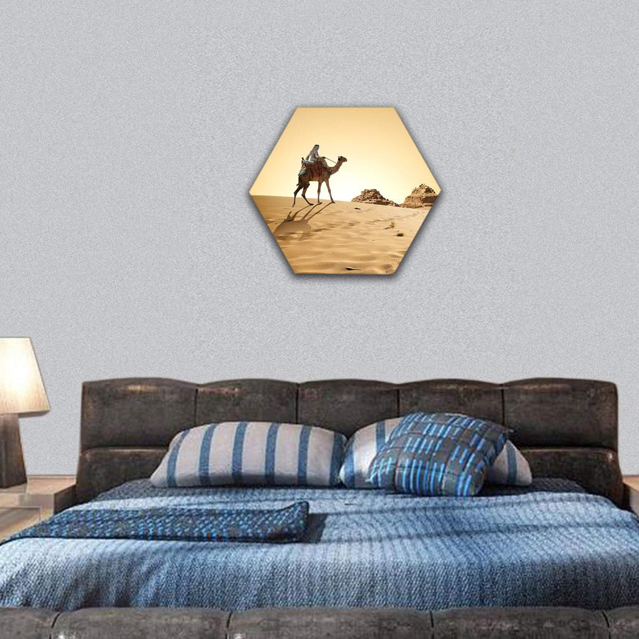 Traveling On Camel In Desert Hexagonal Canvas Wall Art 7 Hexa / Small / Gallery Wrap Tiaracle