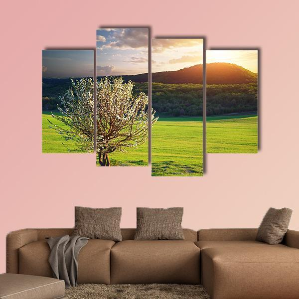 Tree In Mountain Meadow Multi Panel Canvas Wall Art 3 Pieces / Small / Gallery Wrap Tiaracle