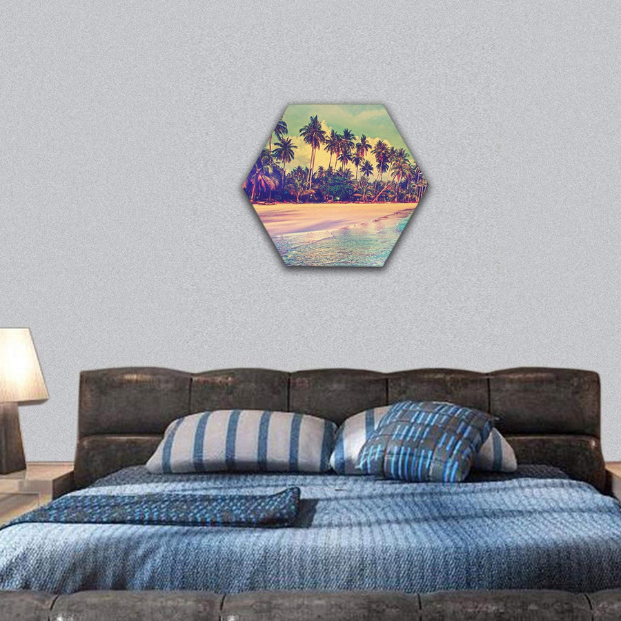 Trees On The Tropical Beach Hexagonal Canvas Wall Art 7 Hexa / Small / Gallery Wrap Tiaracle