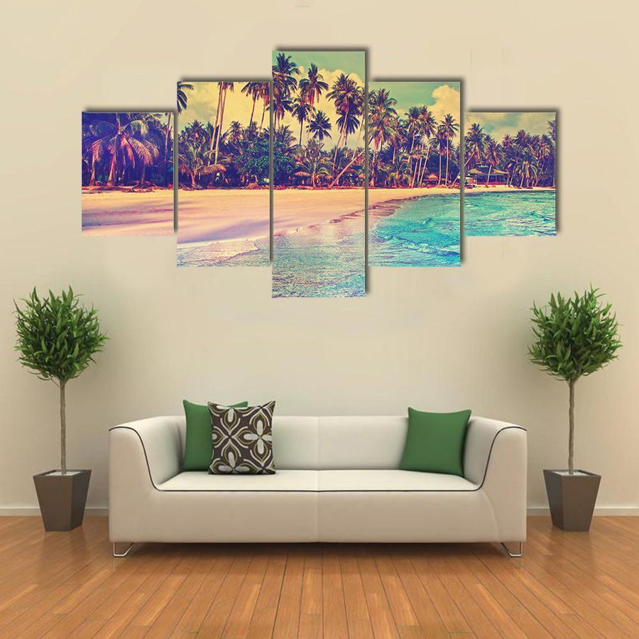 Trees On The Tropical Beach Canvas Panel Painting Tiaracle