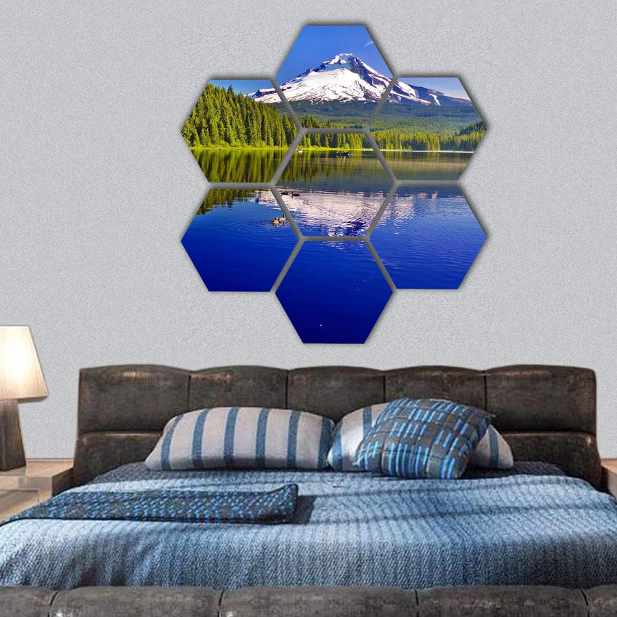 Trillium Lake And Mt Hood Hexagonal Canvas Wall Art 1 Hexa / Small / Gallery Wrap Tiaracle