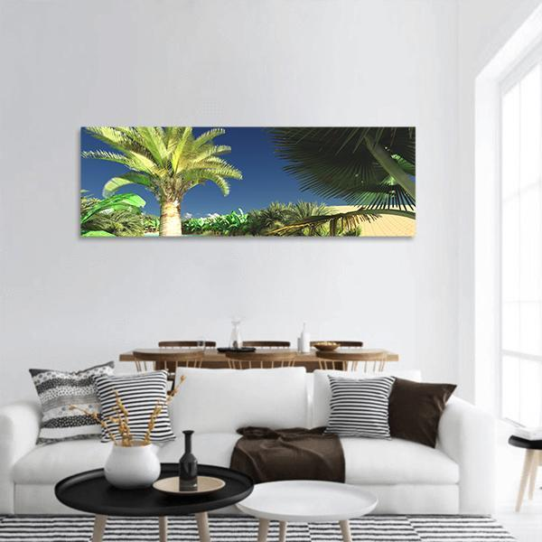 Tropical Arabic Beach Panoramic Canvas Wall Art 3 Piece / Small Tiaracle