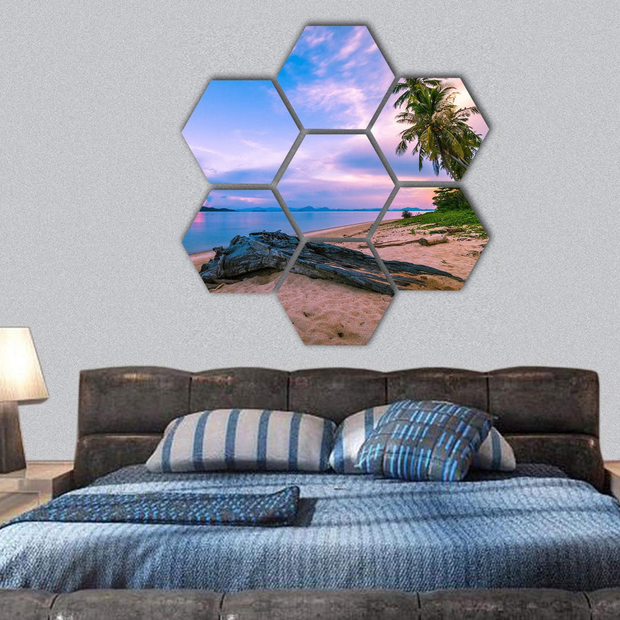 Tropical Beach And Sea At Sunrise Time Hexagonal Canvas Wall Art 1 Hexa / Small / Gallery Wrap Tiaracle