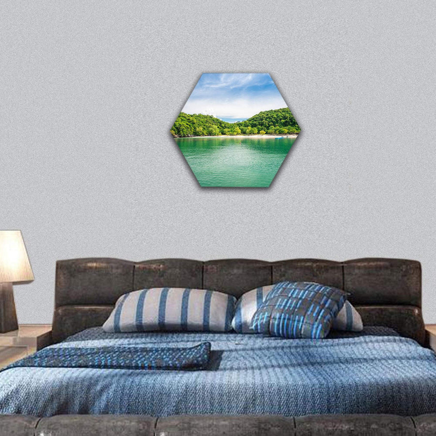 Tropical Beach Ang Thong National Marine Park Hexagonal Canvas Wall Art 7 Hexa / Small / Gallery Wrap Tiaracle