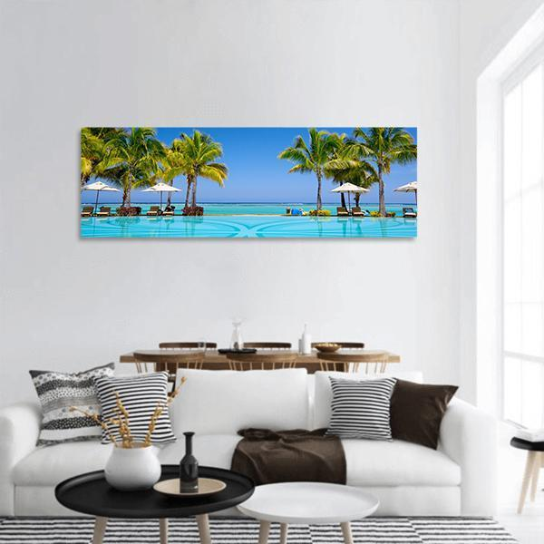 Tropical Beach Resort In Mauritius Panoramic Canvas Wall Art 3 Piece / Small Tiaracle