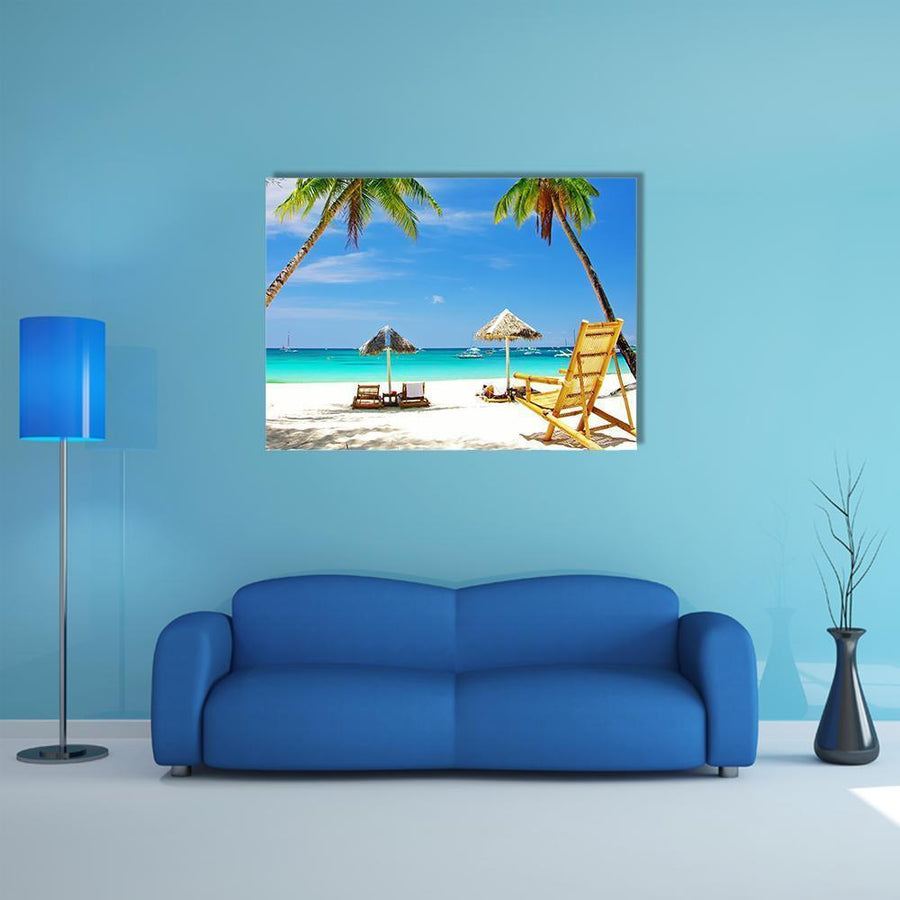 Tropical Beach View Multi Panel Canvas Wall Art 4 Square / Small / Gallery Wrap Tiaracle