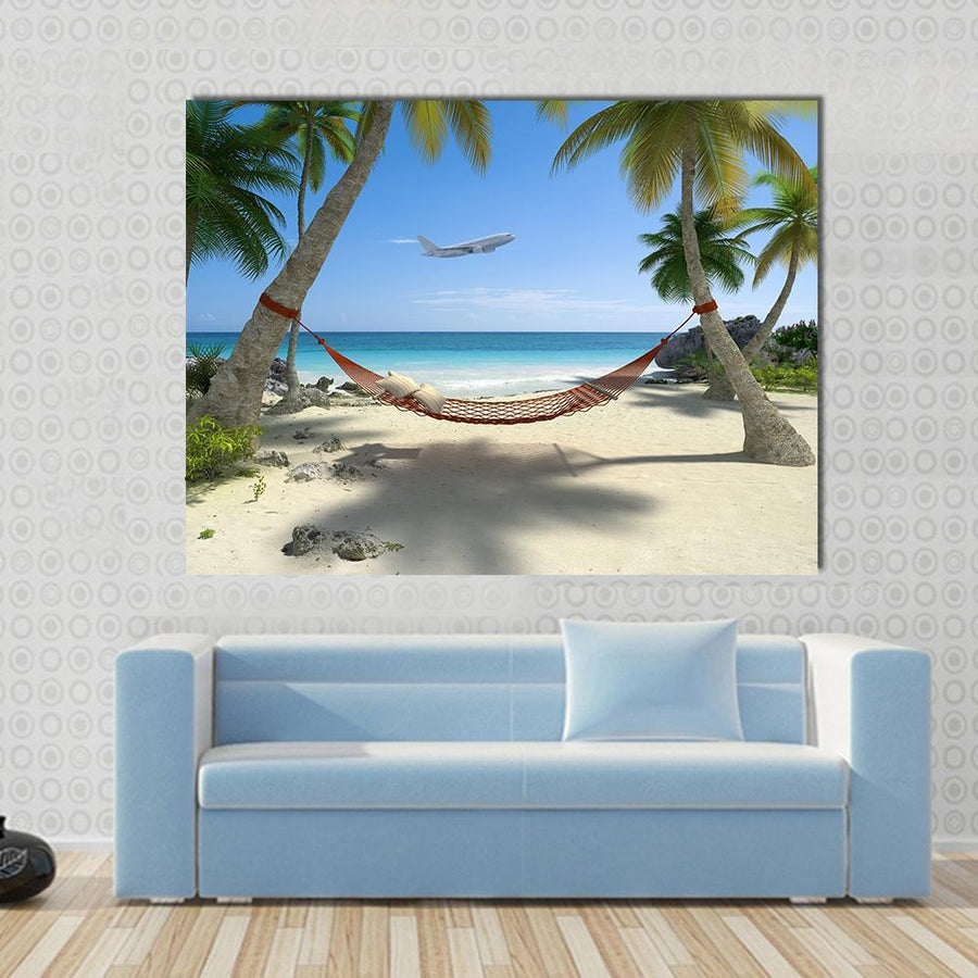 Tropical Beach With A Hammock Hanging From Palm Trees Canvas Panel Painting Tiaracle