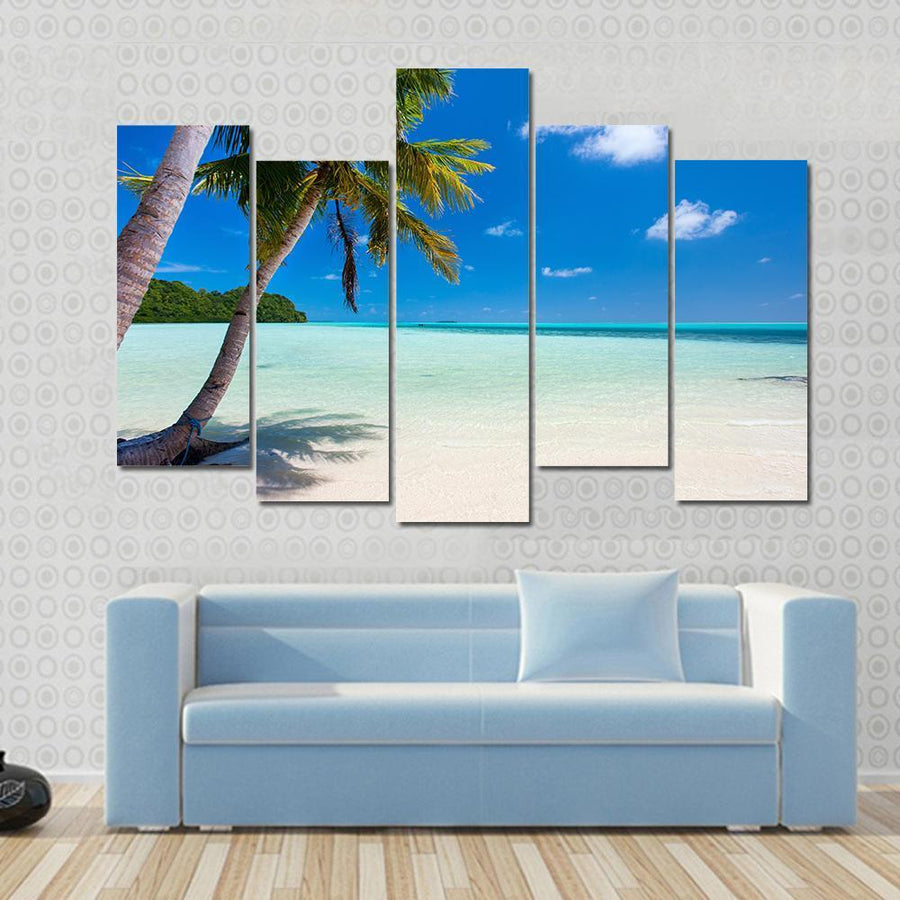 Tropical Beach With Palm Trees At Palau Canvas Panel Painting Tiaracle