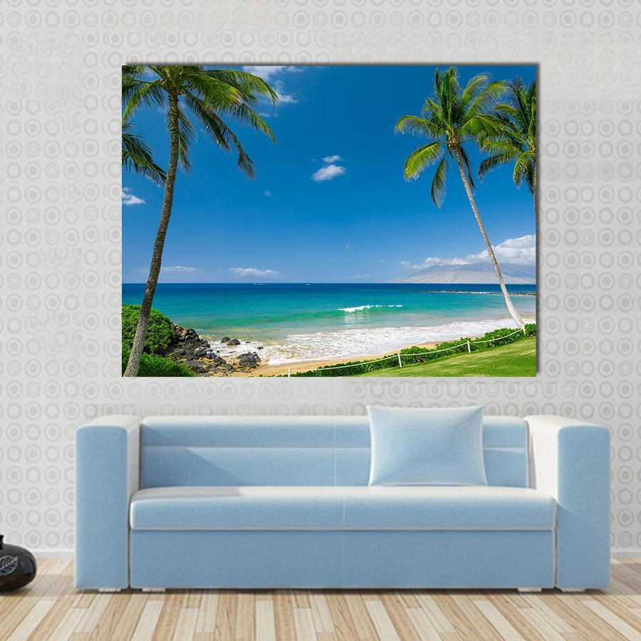 Tropical Beach With Palm Trees Canvas Wall Art-4 Horizontal-Small-Gallery Wrap-Tiaracle