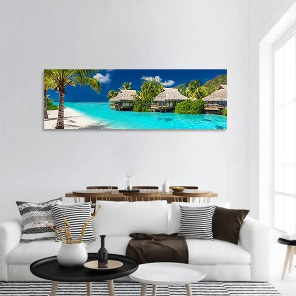 Tropical Island Of Bora Bora Panoramic Canvas Wall Art 3 Piece / Small Tiaracle