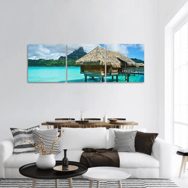 Tropical Island Of Bora Bora Panoramic Canvas Wall Art 1 Piece / Small Tiaracle