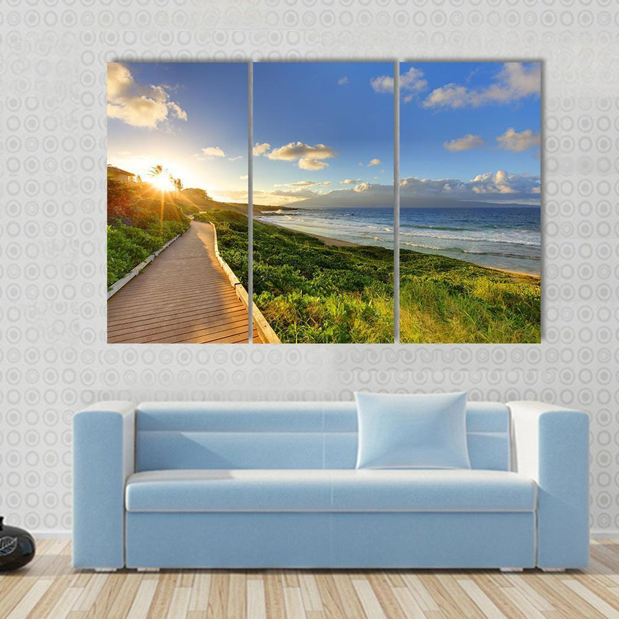 Tropical Path Near The Beach Maui Hawaii Canvas Panel Painting Tiaracle