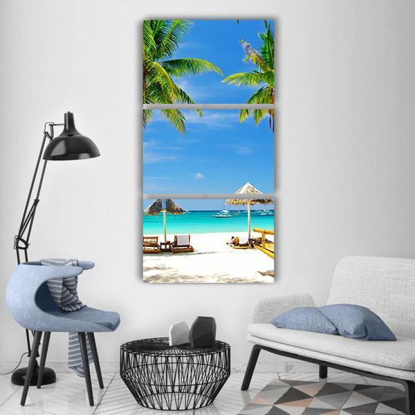 Tropical Relax Beach Vertical Canvas Wall Art 1 Vertical / Small / Gallery Wrap Tiaracle