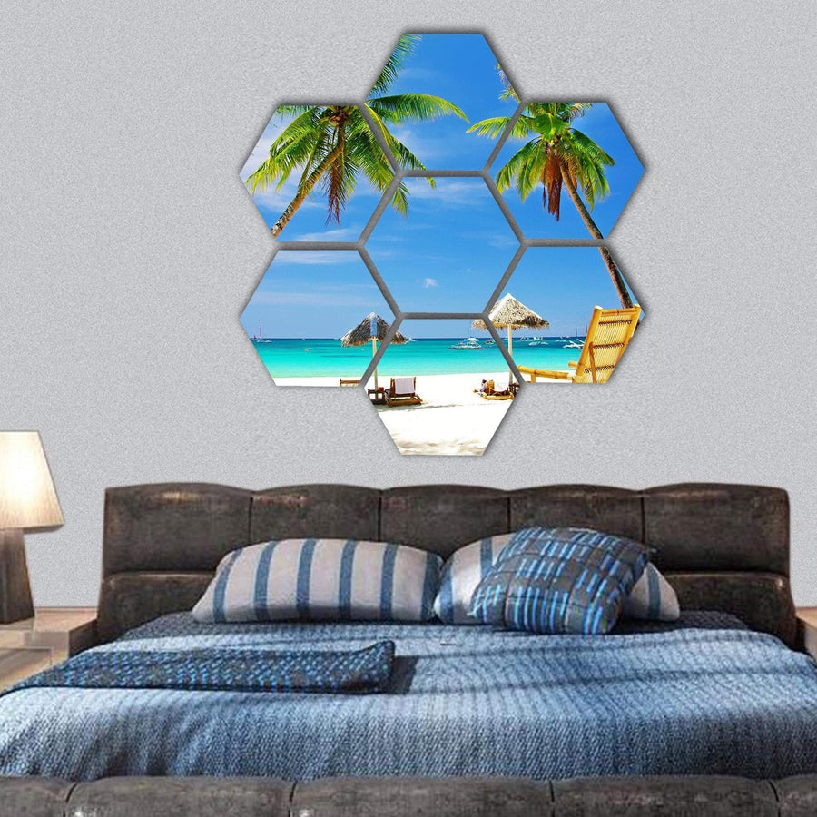 Tropical Relaxing Beach View Hexagonal Canvas Wall Art 1 Hexa / Small / Gallery Wrap Tiaracle