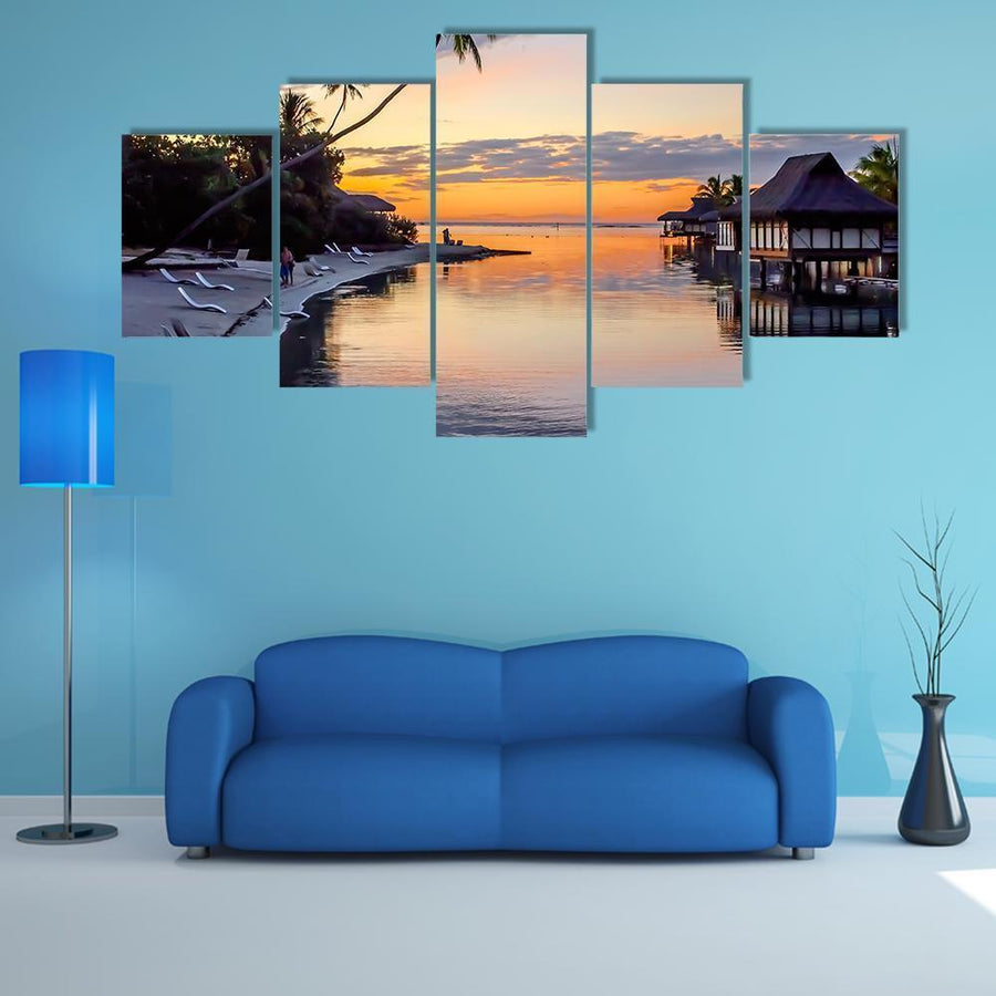 Tropical Sunset At Moorea Multi Panel Canvas Wall Art 3 Pieces / Medium / Canvas Tiaracle