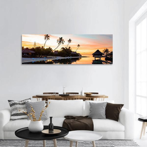 Tropical Sunset At Moorea Panoramic Canvas Wall Art 3 Piece / Small Tiaracle