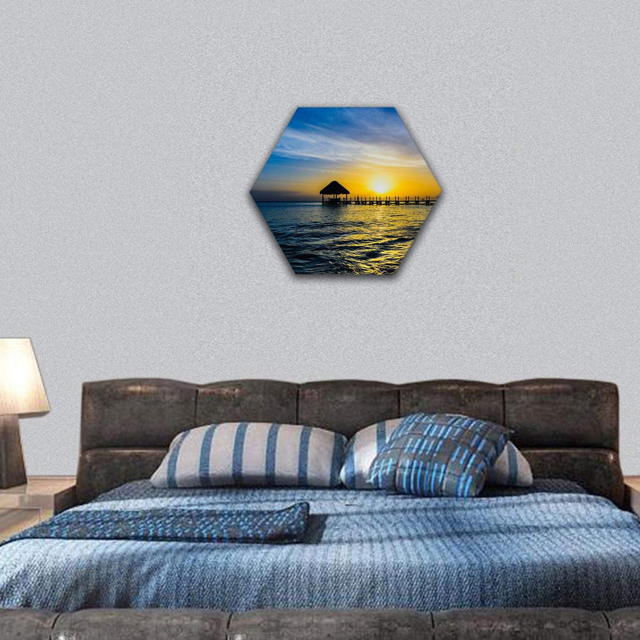 Tropical Sunset View Of Pier Of Caribbean Beach Hexagonal Canvas Wall Art 7 Hexa / Small / Gallery Wrap Tiaracle