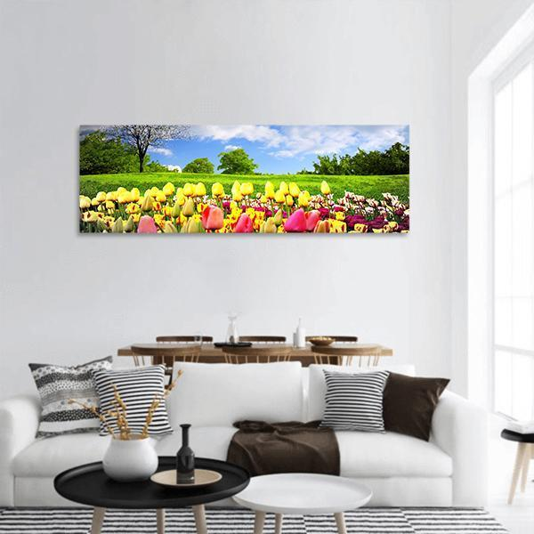 Tulips And Spring Meadow Panoramic Canvas Wall Art 3 Piece / Small Tiaracle