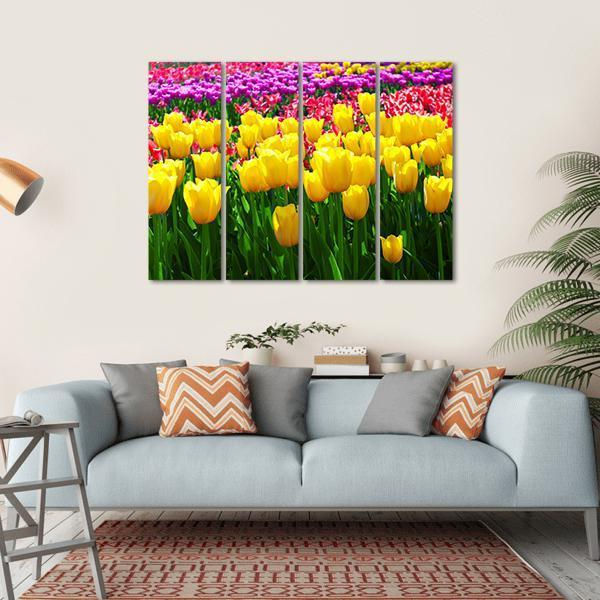 Tulips Field Flowers Multi Panel Canvas Wall Art 1 Piece / Small / Gallery Wrap Tiaracle