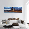 Twilight Blue Hour At Chicago City Panoramic Canvas Wall Art 1 Piece / Small Tiaracle