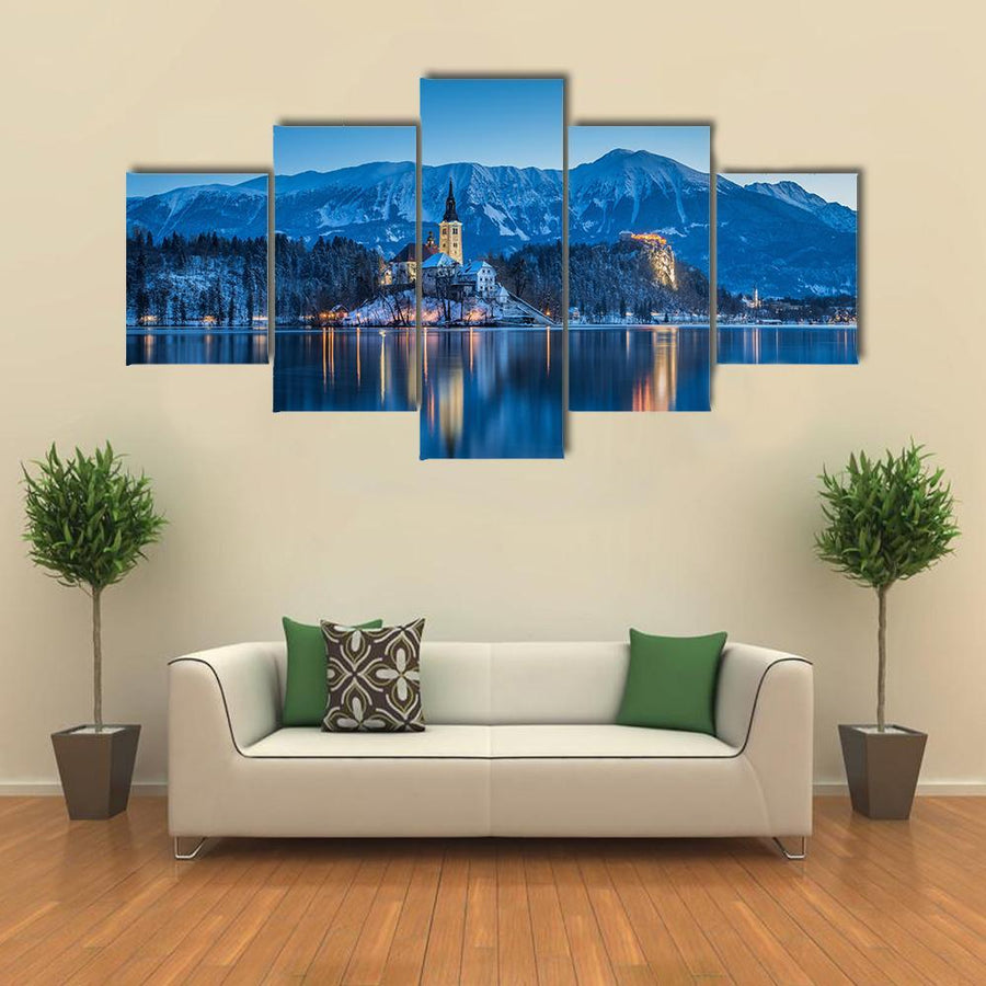 Twilight View Of Lake Bled Multi Panel Canvas Wall Art 5 Pieces(A) / Medium / Canvas Tiaracle
