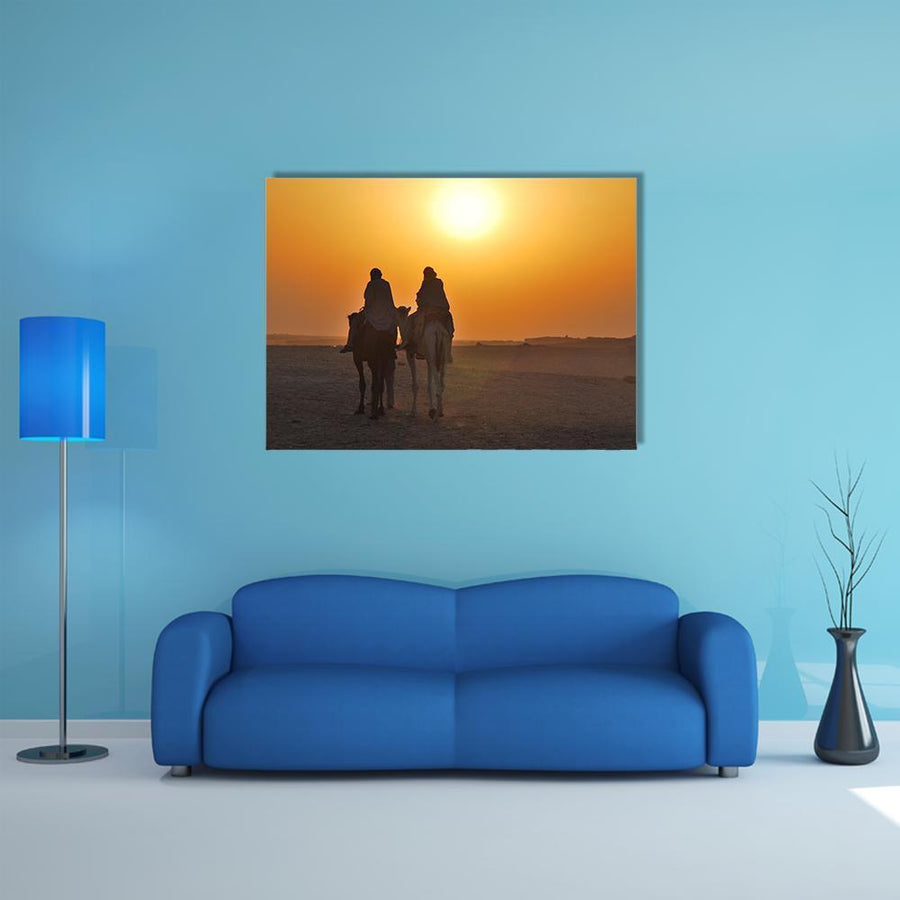 Two Camels Riding Towards Sun In Desert Multi Panel Canvas Wall Art 4 Horizontal / Small / Gallery Wrap Tiaracle