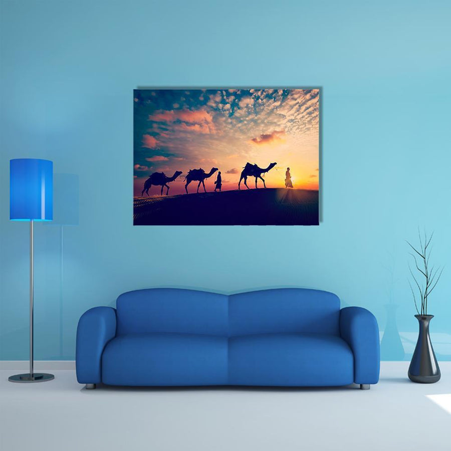 Two Indian Cameleers Multi Panel Canvas Wall Art-5 Horizontal-Small-Gallery Wrap-Tiaracle
