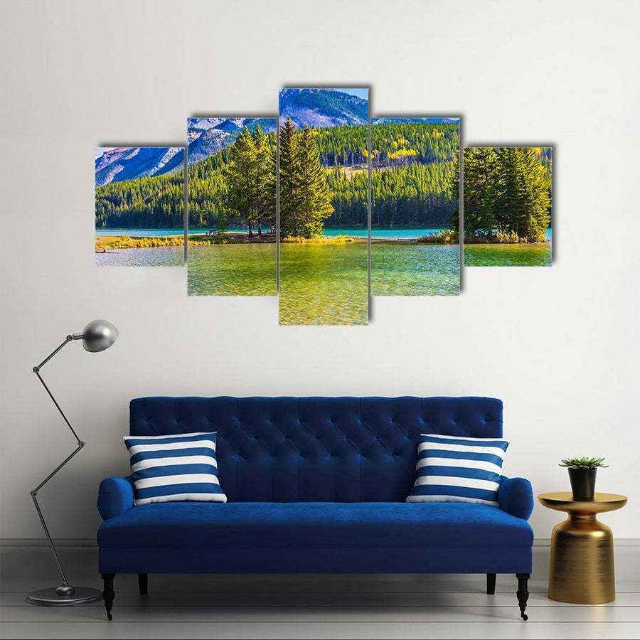Lake Two Jack In The Rocky Mountain Multi Panel Canvas Wall Art 1 Piece / Medium / Canvas Tiaracle