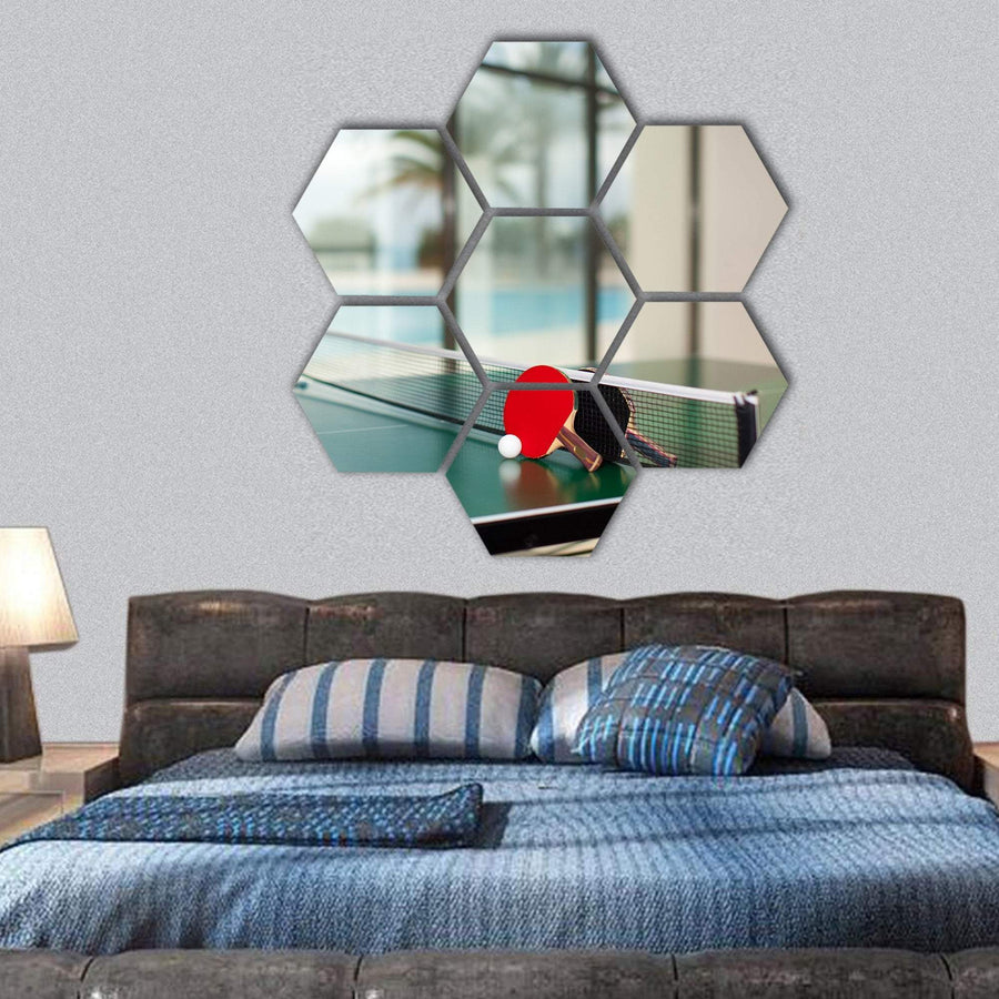 Two Table Tennis Or Rackets And Balls On A Green Table With Net Hexagonal Canvas Wall Art 1 Hexa / Small / Gallery Wrap Tiaracle