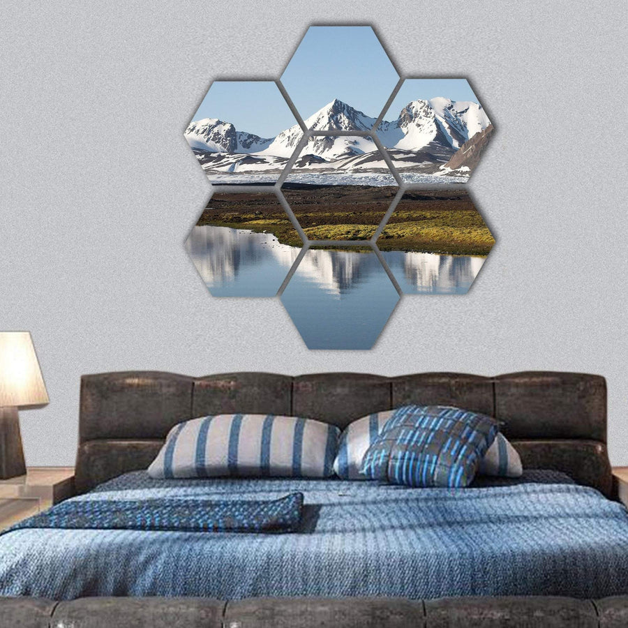 Typical Arctic Summer Landscape Hexagonal Canvas Wall Art 1 Hexa / Small / Gallery Wrap Tiaracle