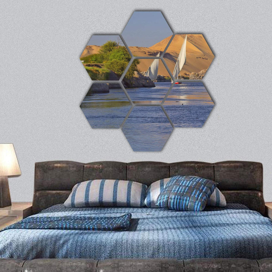Typical Sailing On The Nile River Hexagonal Canvas Wall Art 1 Hexa / Small / Gallery Wrap Tiaracle