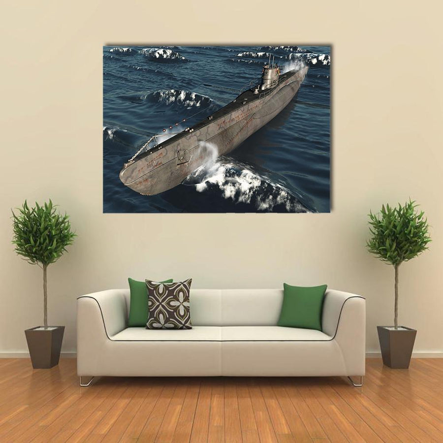 U99-German Submarine From Worldwar II Multi Panel Canvas Wall Art 4 Horizontal / Small / Gallery Wrap Tiaracle