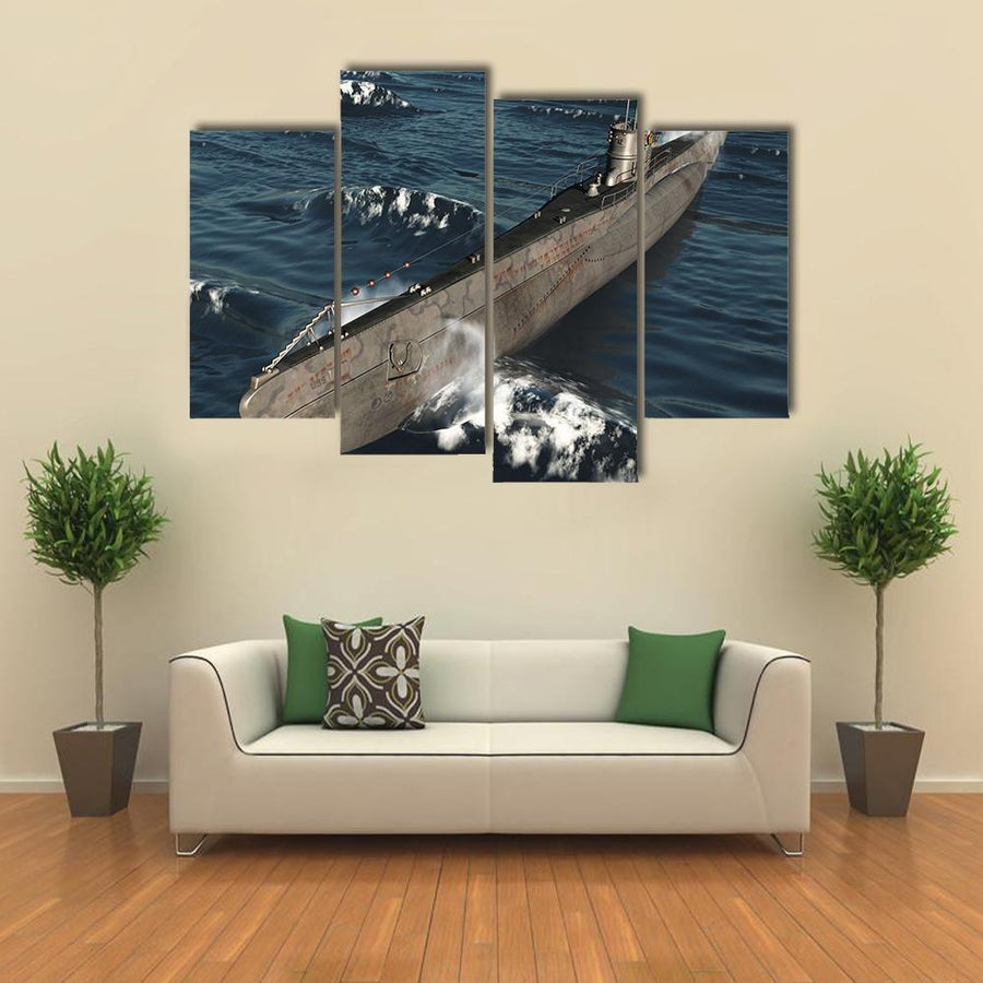 U99-German Submarine From Worldwar II Multi Panel Canvas Wall Art 3 Pieces / Medium / Canvas Tiaracle