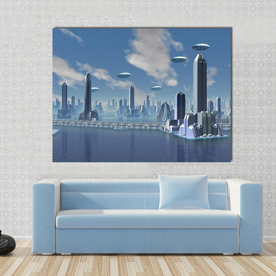 UFO Over Futuristic Alien City Canvas Panel Painting Tiaracle