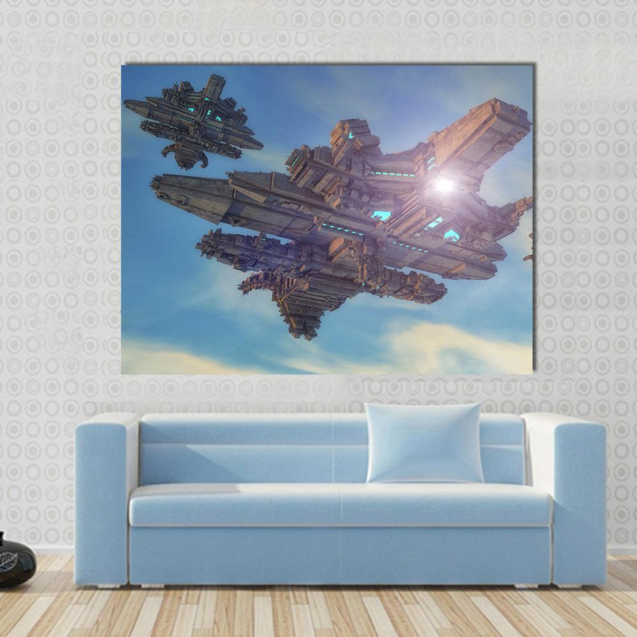 Unidentified Alien Ship Canvas Wall Art-5 Horizontal-Small-Gallery Wrap-Tiaracle